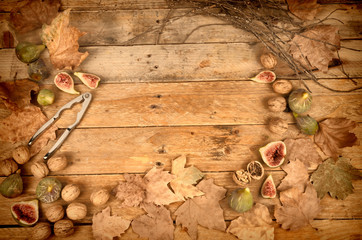 Autumn still life with fresh figs
