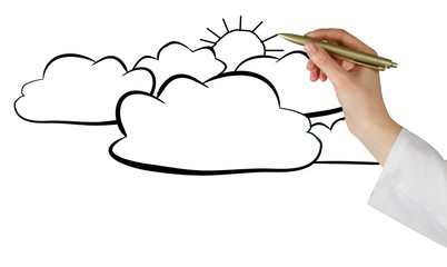 Woman drawing clouds