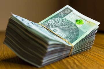 Stack of polish zloty banknotes