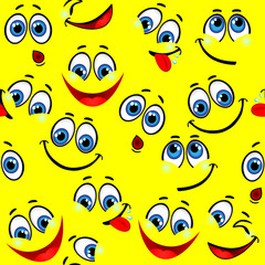Seamless pattern - funny faces on a yellow background