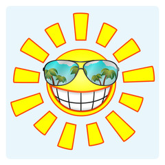 Cheerful smiling sun wearing sunglasses