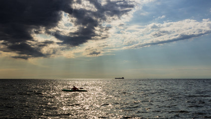 kayak in the italian sea