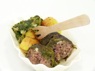 fertiggericht mit mangold und hackfleischroulade