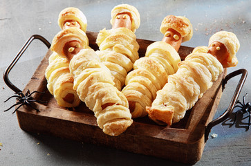Weiner Mummies Wrapped in Pastry on Tray