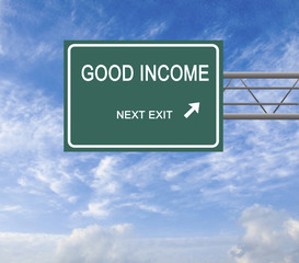 Road sign to good income