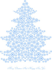 vector christmas tree silhouette made of blue snowflakes