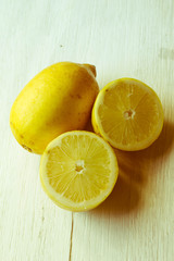 lemons on wooden