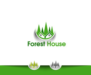 Forest House Web Icons and Vector Logo