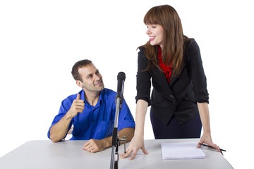 female lawyer representing male client