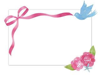 リボンと青い鳥と花のメッセージカード