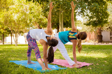 Yoga girls at a park