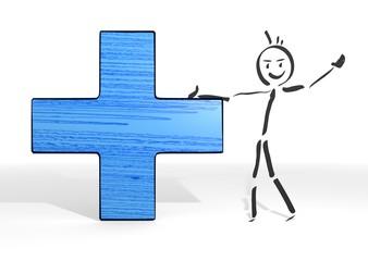stick man presents cross sign