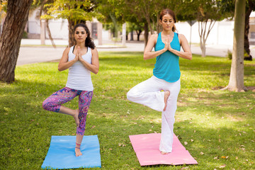 Two girls meditating at a park