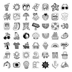 49 sketch icon set of summer theme, vector illustration