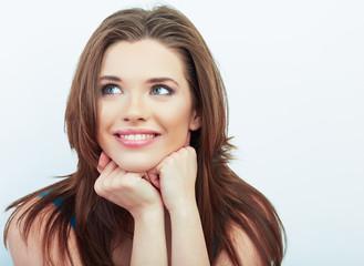 Smiling woman beautiful face portrait.