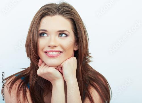 Smiling woman beautiful face portrait. - 69655855
