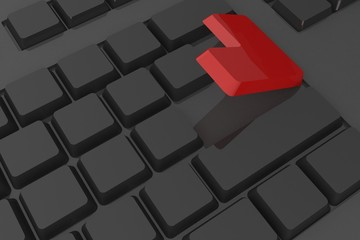 Red enter button on keyboard