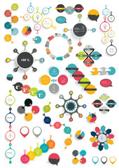 Collection of colorful round info graphics diagrams.