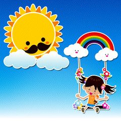 Canvas style Smile girl playing the swing under a sun and rainbo