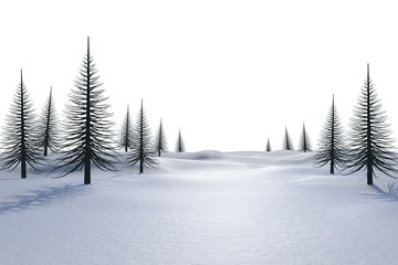 White snowy landscape with dead trees