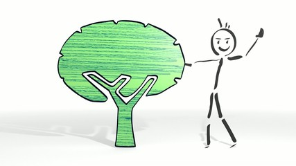 stick man presents a eco tree symbol