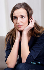 Exhausted woman sitting