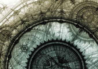 Grey steampunk clockwork
