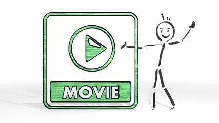 stick man presents a movie symbol