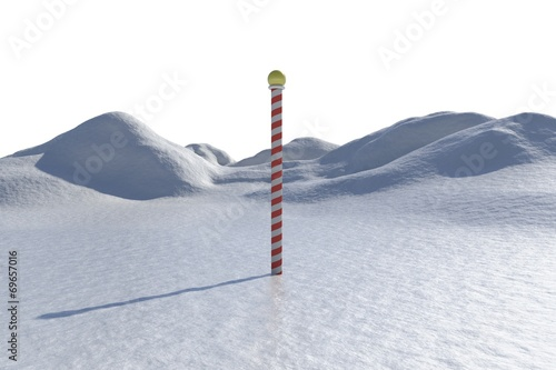 Keuken foto achterwand Poolcirkel Digitally generated snowy landscape with pole
