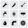 Vector black plumbing icons set - 69657257