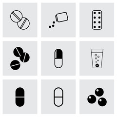 Vector black pills icons set