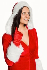Woman wearing sexy christmas clothes