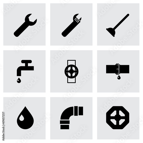 Vector black plumbing icons set - 69657257