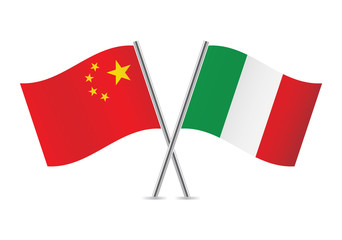 Chinese and Italian flags. Vector illustration.