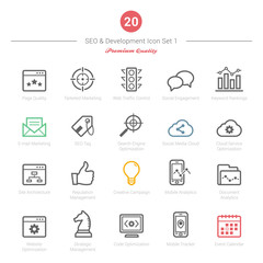 Set of Bold Stroke SEO and Development icons Set 1