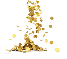 Falling golden coins isolated
