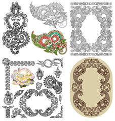 Vector set of calligraphic design vintage frame and flower, bla