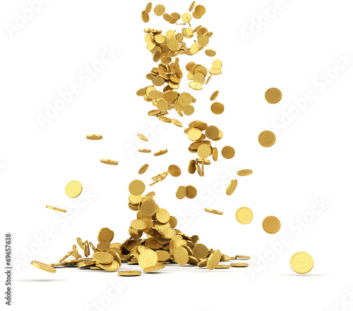 Falling golden coins isolated - 69657638