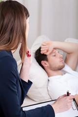 Psychotherapist listening about problems