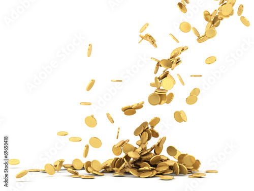 Falling golden coins isolated - 69658418