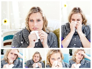 Composite image of collage of a woman having a cold