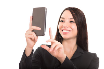 Closeup of cheerful businesswoman