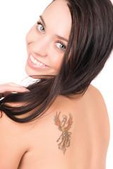 Portrait of cheerful brunette