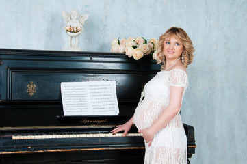 Expectant mother in anticipation of birth of baby.
