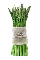 Fresh green asparagus on a white background.
