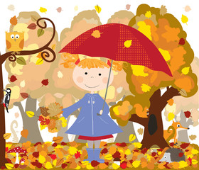 forest animals, child with red umbrella- vectors