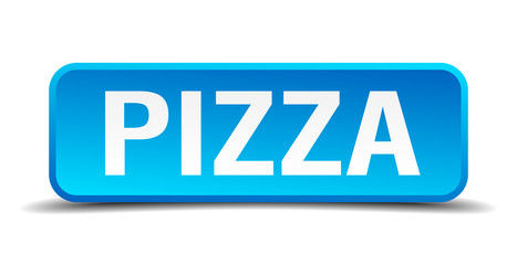Pizza blue 3d realistic square isolated button