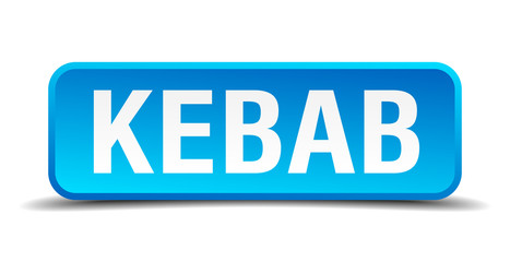 Kebab blue 3d realistic square isolated button