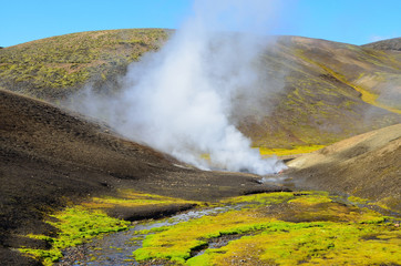 Исландия, геотермальные источники в горах