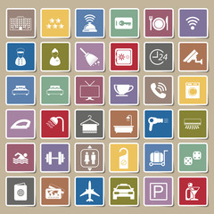 Hotel icons Sticker set